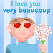 Carte de voeux : I love you very very beaucoup