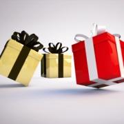 Carte de voeux : Pluie de cadeaux